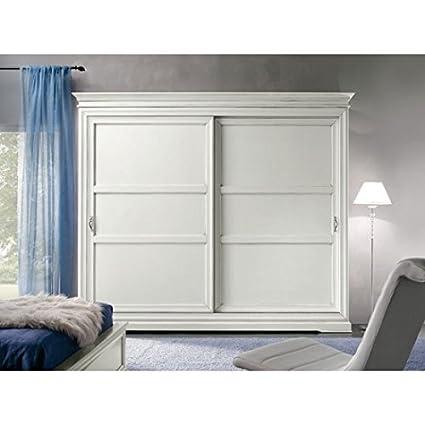 Armario puertas correderas madera maciza lacada blanca.-como fotos ...