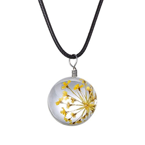 Winter's Secret Handmade DIY Rope Chain Round Shape Yellow Dried Flower Pendant Crystal Glass Charming Choker Necklace