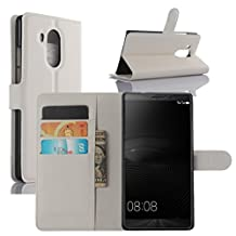 Huawei Mate 8 Case, Premium PU Leather Wallet Flip Case Cover with Stand Card Holder for Huawei Mate 8 2015 Smartphone (Wallet - White)