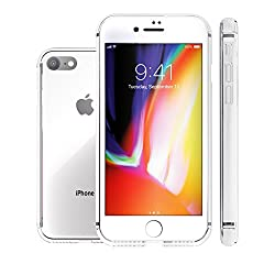 ShieldX2 Ultra Thin Transparent Case with Tempered Glass Screen Protector and Phone Replacement Promise for iPhone 7 / iPhone 8 - Clear