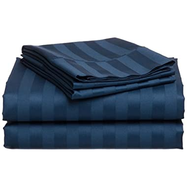Hotel Collection 410-Thread-Count Egyptian Cotton Sateen Dobby Stripe Queen Sheet Set, Peacock