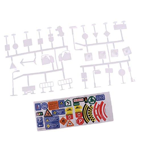 (SM SunniMix 28pcs Plastic Traffic Signs Model Kits w/ Sticker Kids Toy DIY Accessories C)