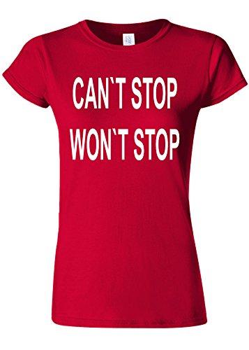 敬意を表する提案ペリスコープCan`t Stop Won`t Stop Gym Novelty Cherry Red Women T Shirt Top-XXL