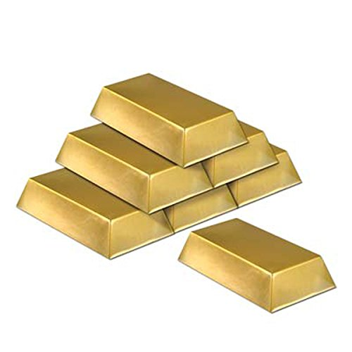 Gold Bar Decorations-6 Per Unit -