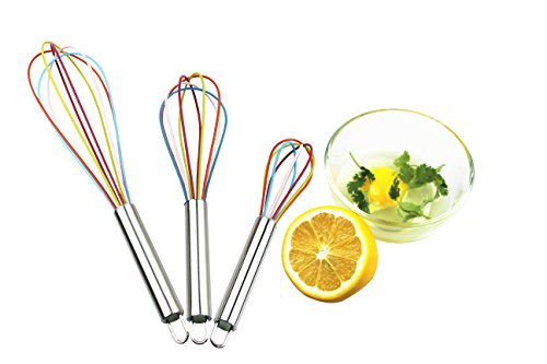 Egg Whisk,Silicone Egg Beater Wire Balloon Whisks Good Grips Egg&Milk Frother/Blender of H&B LIFE,8+10+ 12 Inches, Set of 3 (Colorful)