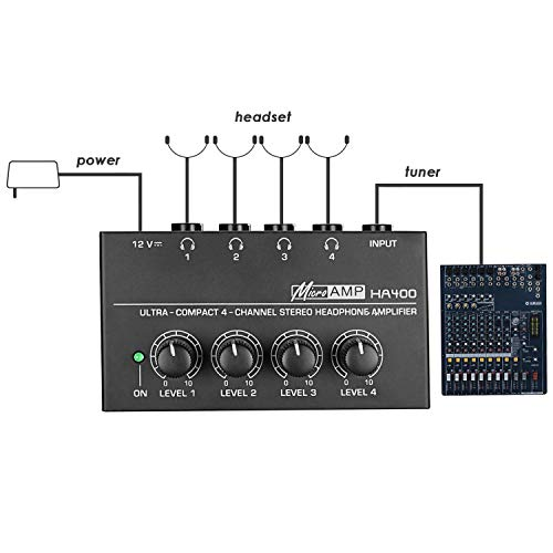 Neewer Super Compact 4-Channel Stereo Headphone Amplifier with DC 12V Power Adapter for Sound Reinforcement, Studio, Stage, Choir, Personal Recording, Features Ultra Low Noise (Limited Edition)
