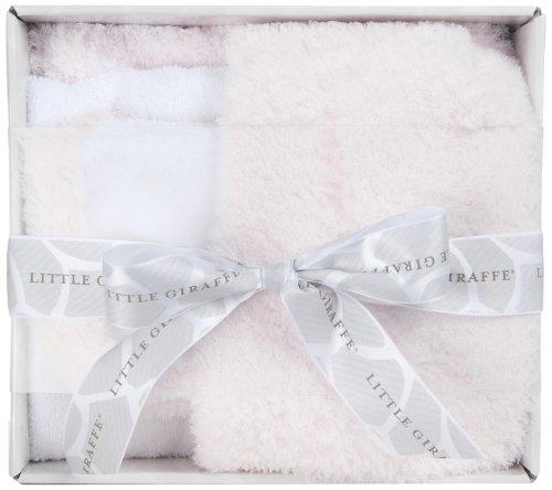 Little Giraffe Splash and Dry Blanket Gift Set, Pink