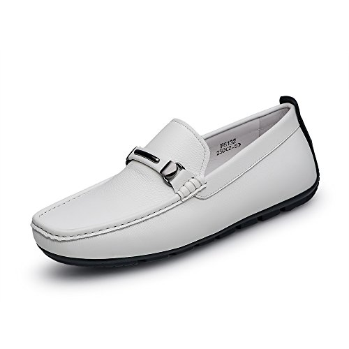 ZRO Men's Casual Fashion Driving Loafers Flats Boat shoes White US 9.5 by ZRO (Image #1)