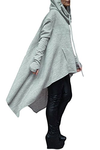 Asymmetric donna grigio oversize con cappuccio jumper giacca poncho abbigliamento casual taglia L UK 12–14EU 40–42