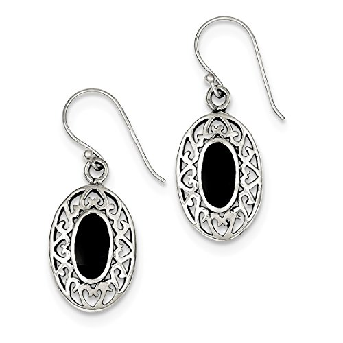 ICE CARATS 925 Sterling Silver Oval Black Agate Shepherd Hook Drop Dangle Chandelier Earrings Fine Jewelry Ideal Mothers Day Gifts For Mom Women Gift Set From Heart