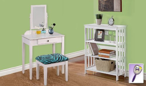 New White Finish Make Up Vanity Table with Mirror & Aqua Zebra Animal Print Bench And 4 Tier White Finish Book Shelf includes Free Hand & Purse Mirror!