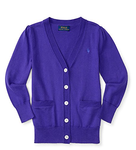 Ralph Lauren Girls V Neck Cardigan Sweater (5, Purple)