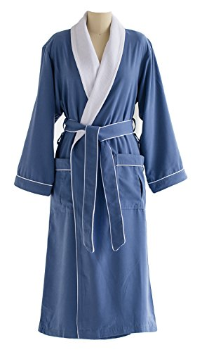 Ultimate Doeskin Microfiber Bathrobe Lined In Terry - Luxury Spa Bathrobe for Women and Men - Periwinkle/White - Large