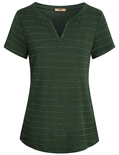 Miusey Green Office Blouse for Women, Deep V Neck Henley Comfy Fashion Flattering Plain Stretch Loose Slouchy Soft Basic Curved Hem Smooth Chic Vintage Shirt Tops - Cotton Hem Short Sleeve