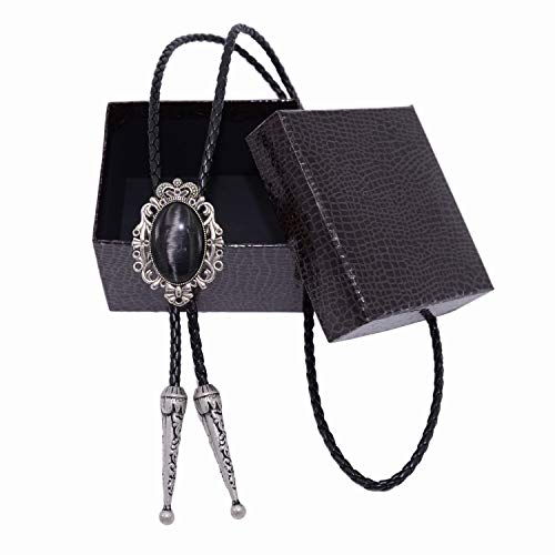 Kissvian Vintage Silver Imperial Crown Bolo Bola Tie Unisex Shirt Necklace, Black ()