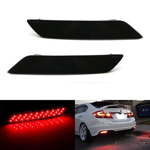 iJDMTOY Smoked Lens 60-SMD LED Bumper Reflector Lights For 13-15 Honda Civic Sedan, Function as Tail, Brake & Rear Fog Lamps (2015 Honda Civic Si Sedan Body Kit)