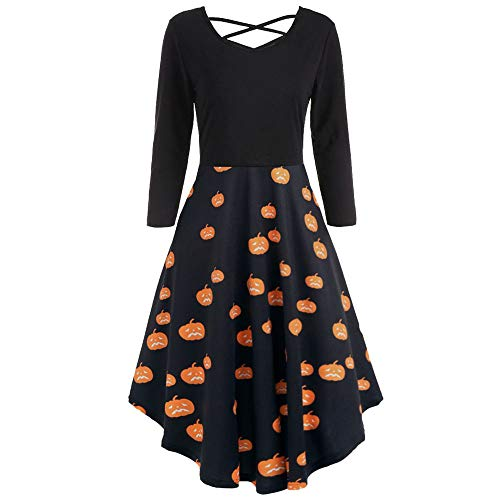 YOcheerful Halloween Women Long Sleeve Dress Pumpkin Bat Cat Swing Dress (B,S) -
