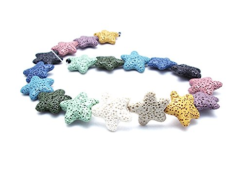 (Star Shape Smooth Coloured Lava Stone Loose Beads - Lava Rock Beads Volcanic Gemstone for Beaded Necklace Bracelet DIY Handmade Jewelry Making (23 x 23 x 6mm) )