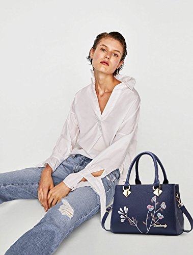 Borsa PU in NICOLE Top amp;DORIS Bianca borsa Donne Borse Crossbody pelle Borsa Retro Bag Blu in borsa Handle da xqwF6pwYS