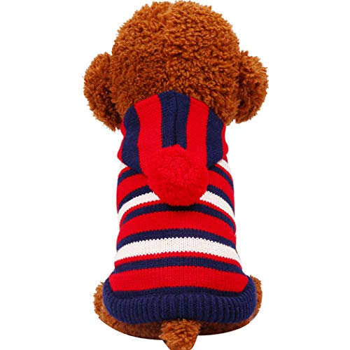 GJFeng Dog Clothes Autumn and Winter New Paddington Striped Sweater Pet Clothes Teddy Pet Clothing (Color : Red, Size : M)