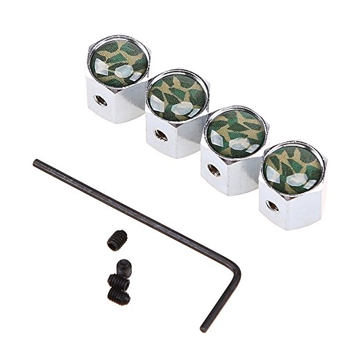 Cap Universal Camo - POSSBAY 4Pcs Valve Stem Caps Wheel Tyre Dust Cover Universal for Car Truck Motorcycle Bike Green Camouflage Style