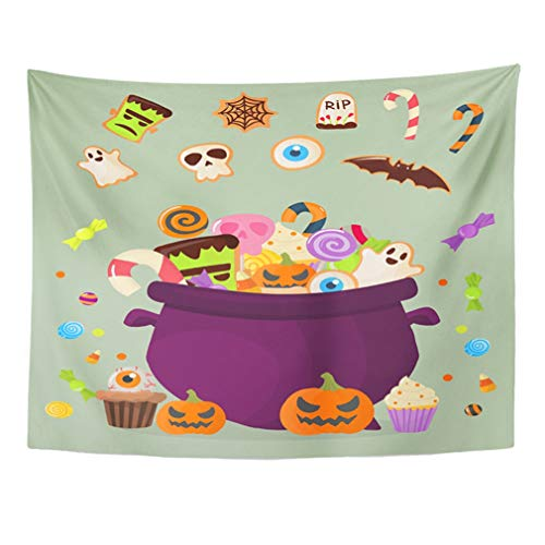 Emvency Tapestry Mandala 50x60 Inches Halloween Party Cauldron Colorful Sweets Cupcakes Lollipops Jelly Beans Cookies Cake Home Decor Wall Hanging for Living Room Bedroom -