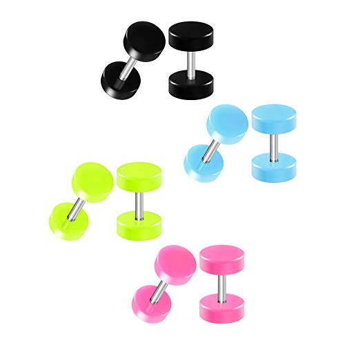 BIG GAUGES 4 Pairs Black Light Blue Green Pink Acrylic 16g Gauge 1.2mm 6mm Fake Plugs Piercing Cheater Illusion Ear Earring Lobe BG7800