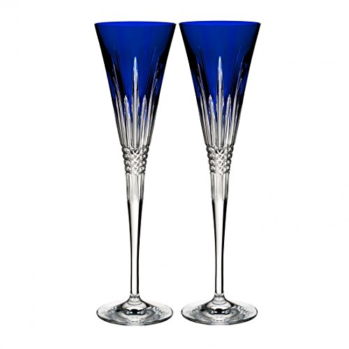 Cobalt Blue Champagne - Waterford Lismore Diamond Toasting Flute Pair Cobalt