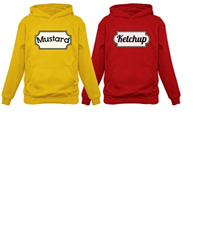 Ketchup & Mustered Matching Couple Halloween Set Easy Costume Unisex Hoodies Mustard Hoodie X-Large Yellow / XX-Large Red