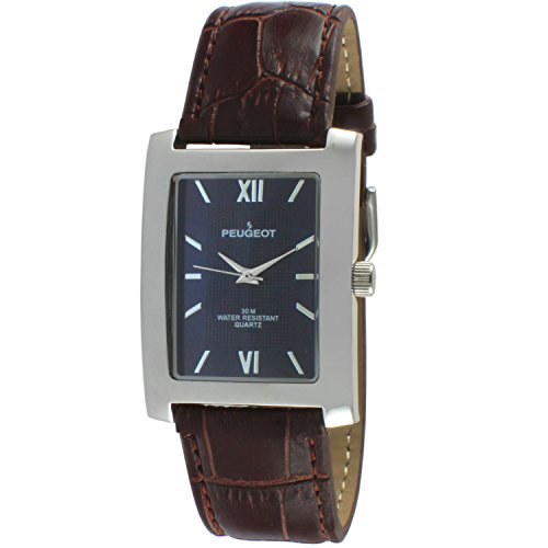 (Peugeot Rectangle Men's Everyday Leather Band Luxury Dress Business Watch 2033)