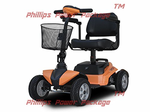 EV Rider - RiderXpress Travel Scooter - 4-Wheel - Orange - with PHILLIPS IN HOME SERVICE POWER PACKAGE (3 years) - UP TO A $500 - Ev Orange