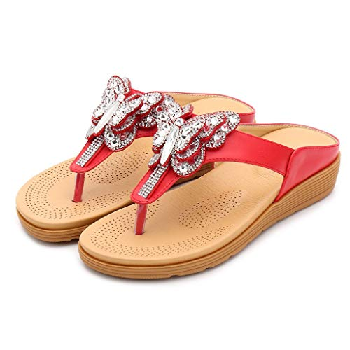 Bohemian Sandals for Women,YuhooSUN Rhinestone Thick-Bottomed Flip-Flops Comfort Walking Slippers Beach Shoes - Clogs Ladies Rhinestone Comfort