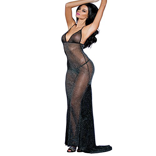 (SUNSPICE Sexy Sheer Black Shining Mesh Long Nightgown Deep-V Gown Dress for Women)