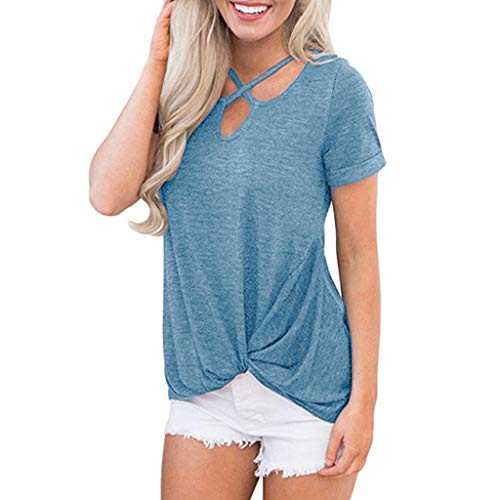 (Limsea Women Blouse 2019 Summer Short Sleeve Off Shoulder Loose Casual T-Shirt Tops Blouse (Small, ZZBlue))