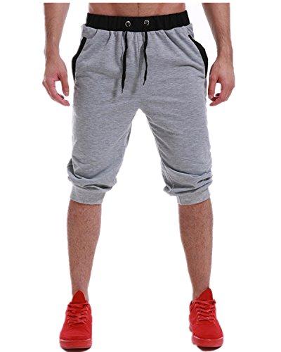 MODCHOK Mens Shorts Pants Running Sweatpants Cotton Joggers Slim Fit Tracksuit Light Grey M