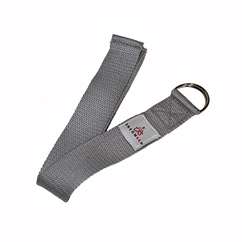 Sredmoon yoga strap 8ft Made With The Best, Durable Cotton Durable for Stretching, Flexibility w/ Adjustable D-Rings (gray)