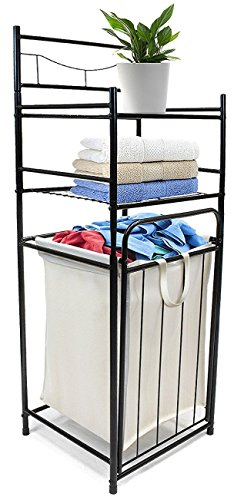 (Sorbus Bathroom Tower Hamper - Features Tilt Laundry Hamper and 2-Tier Storage Shelves - Great for Bathroom, Laundry Room, Bedroom, Closet, Nursery, and More)