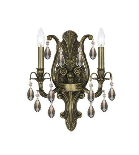 Wall Sconces 2 Light With Antique Brass Golden Teak Hand Cut Crystal Brass 13 inch 120 Watts - World of ()