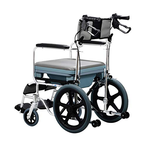 Price comparison product image Wheelchair Aluminum Alloy Handbrake Automatic Brake Fold Light with A Toilet Elderly Disabled Push Scooter Ultralight Gray