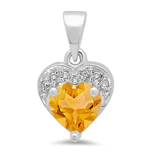 14K White Gold Heart Cut Citrine & Round Cut White Diamond Ladies Heart Pendant (Cut Pendant Citrine Heart)