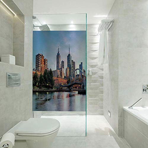 Privacy Window Film Frosted Glass Film,Early Morning Scenery in Melbourne Australia Famous Yarra River Scenic,Customizable Size,Suitable for Bathroom,Door,Glass etc,Orange Green Pale Blue