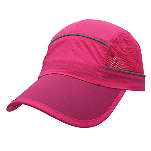 Bills Hot Rod Brackets - HYIRI England Foldable Mesh Sports Cap with Reflective Stripe Breathable Sun Runner Cap Hot Pink