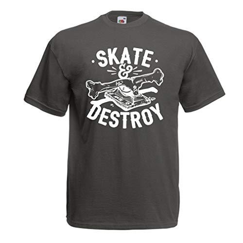 lepni.me Men's T-Shirt Skate and Destroy for Skateboarder, Skateboarding Lovers (Large Graphite Multi Color) - Graphite Hockey Skates