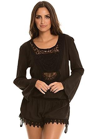 f7aadb37835 An Elan Gorgeous Long Sleeve Crochet Front Open Back Romper (VOC7046)  (Large)