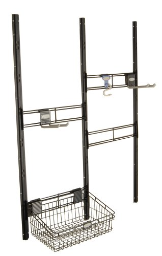 Suncast Bracket, Hooks, Basket Kit - Closet System for Mounting in Suncast Sheds - Includes Two Hangers and Vertical Brackets to Hold Garden Supplies, Tools, Toys, Outdoor Accessories - Black