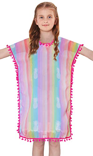 Toddler Infant Baby Kid Girls Rainbow Stripe Pineapple Swim Cover Up Summer Fancy Tassel V-Neck Daily Swimwear Yellow Pink Blue Green Purple Lavender Flowy Knee-Length Pool Beach Wear,3-5 Years - Infant Green Clothing Kids