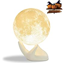 Mydethun Moon Light Night Light for Kids Gift for Women USB Charging and Touch Control Brightness Two Tone Warmand Cool White Lunar Lamp (7.0IN moon light with wood base)
