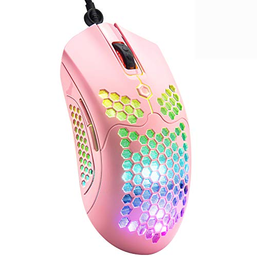 Gaming Mouse with Lightweight Honeycomb Shell, Ultralight Ultraweave Cable,26 RGB Backlit Mice with 7 Buttons Programmable Driver,PAW 3325 12000 DPI Mouse for PC Gamers and Xbox and PS4 Users(Pink)