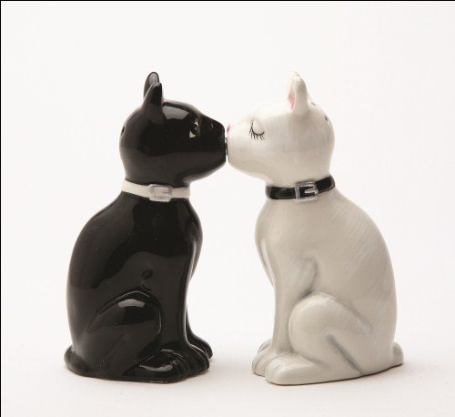 Feline Spicey Black & White Cats Salt & Pepper Shaker Set S/P by Pacific Trading by Pacific Trading (Image #1)