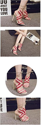 SHEO sandalias de tacón alto La lucha de tacón alto de las mujeres con la plataforma impermeable de las sandalias Rojo